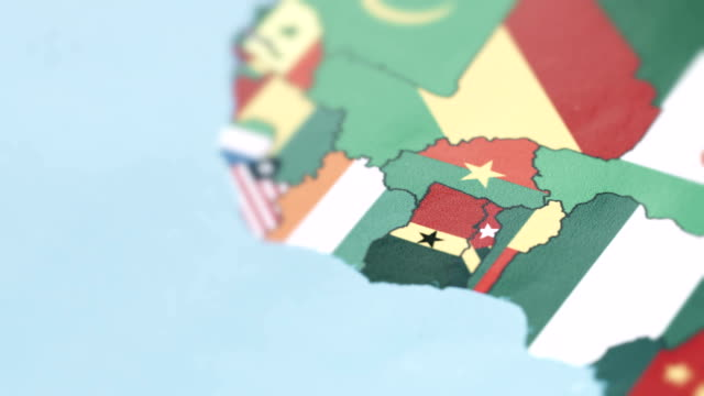 benin, togo, ghana borders with national flag on world map - benin stock videos and b-roll footage