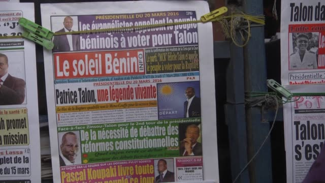 stockvideo's en b-roll-footage met benin will go to the polls on sunday to choose their next president when prime minister lionel zinsou will take on businessman patrice talon to... - minister president