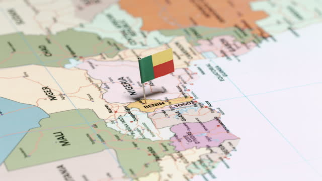 benin with national flag - benin stock videos and b-roll footage
