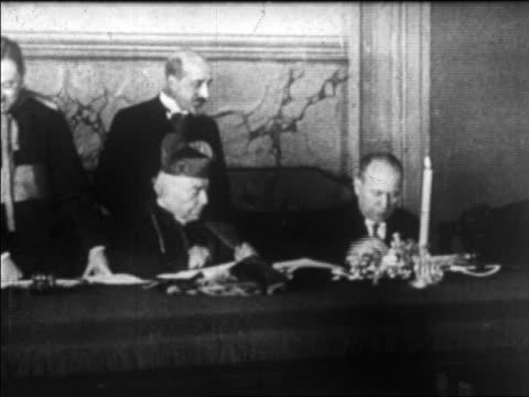 Benito Mussolini Cardinal Gasparri Signing Lateran Treaty Stock