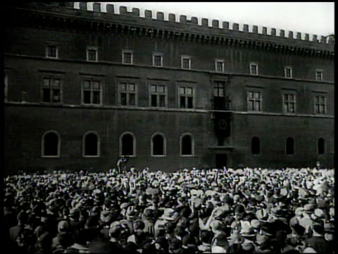 benito mussolini standing on balcony ha ws italian crowds cheering on street rome italy ws cars arriving at league of nations building geneva... - benito mussolini stock videos & royalty-free footage