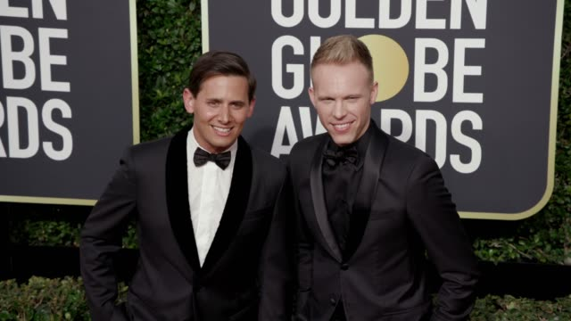 benj pasek and justin paul at the 75th annual golden globe awards at the beverly hilton hotel on january 07, 2018 in beverly hills, california. - the beverly hilton hotel stock videos & royalty-free footage