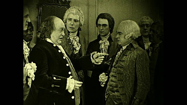"""benjamin franklin and john adams discussing politics at party: """"we must persist until all sections are one in sentiment -- until the thirteen... - benjamin franklin stock videos & royalty-free footage"""