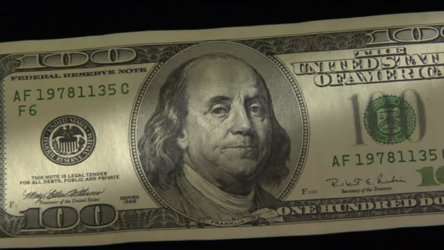 cu, zo, benjamin franklin's portrait on one hundred american dollar bill - benjamin franklin stock videos & royalty-free footage