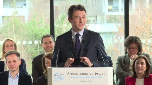 benjamin griveaux a candidate in the race to become mayor of paris in the municipal elections of march 2020 as a member of emmanuel macron's la... - benjamin griveaux stock videos & royalty-free footage
