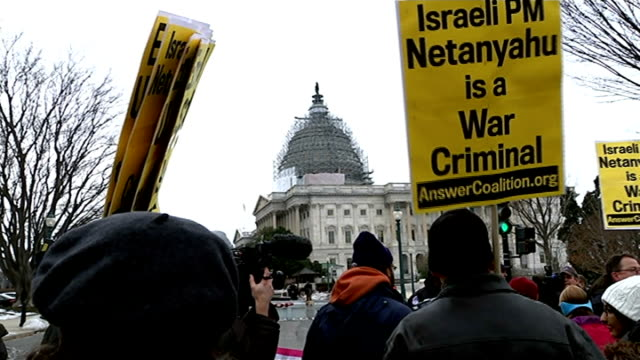 Benjamin Netanyahu criticises US negotiations with Iran USA Washington EXT Various of anti Benjamin Netanyahu protesters demonstrating outside...