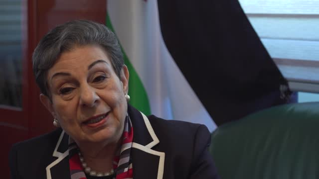 benjamin netanyahu dismisses requests for israel to wind down attacks; palestine: ramallah: int dr hanan ashrawi interview sot ext two women along... - war and conflict stock videos & royalty-free footage