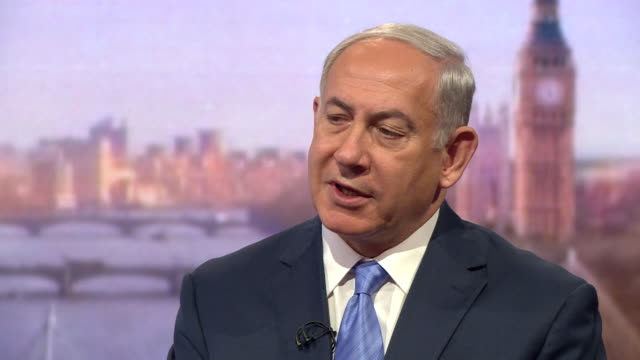 benjamin netanyahu saying he believes in a twostate solution to the israelpalestine conflict but it depends on what the other state is - israel palestine conflict stock videos and b-roll footage