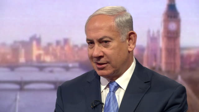 Benjamin Netanyahu saying Israel 'takes care of the population of Gaza' and that he hopes Hamas disarm so Israel and Palestine 'can have a glorious...