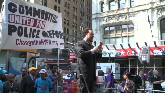 benjamin todd jealous president and ceo of the naacp addresses crowd / rally to reform nypd stopandfrisk policy at city hall on september 27 2012 in... - naacp stock videos & royalty-free footage