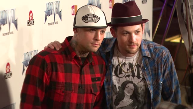 benji madden joel madden at the 'anvil the story of anvil' premiere at los angeles ca - anvil the story of anvil stock videos and b-roll footage