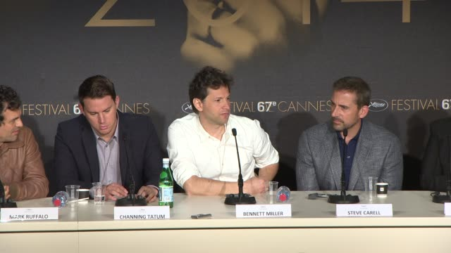 interview bennett miller steve carell on the sense of humour at 'foxcatcher' press conference at palais des festivals on may 19 2014 in cannes france - sense stock-videos und b-roll-filmmaterial
