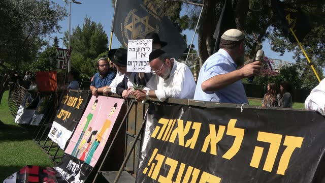 benzi gopstein, head of lehava group notorious for its anti-gay views and other far right activists take part in counter-protest to gay pride parade... - homophobia stock videos & royalty-free footage