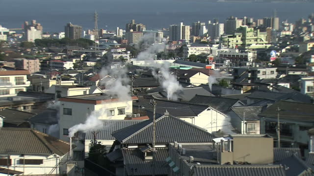 beppu onsen, oita, japan - oita city stock videos & royalty-free footage