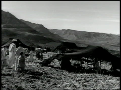 berber countryside w/ palm trees fg vs berber people in mountain tent village sitting under tent w/ children woman sampling food cu woman feeding... - newsreel stock videos & royalty-free footage