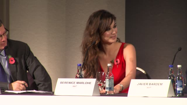berenice marlohe naomie harris and dame judi dench on their characters at the bond 23 launch press conference skyfall at london england - skyfall stock videos and b-roll footage