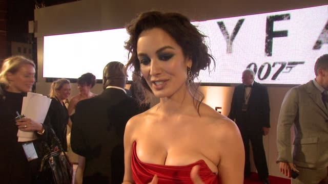 berenice marlohe on being involved in the franchise her impressions of the film at 'skyfall' royal world premiere at royal albert hall on october 23... - skyfall 2012 film stock videos and b-roll footage
