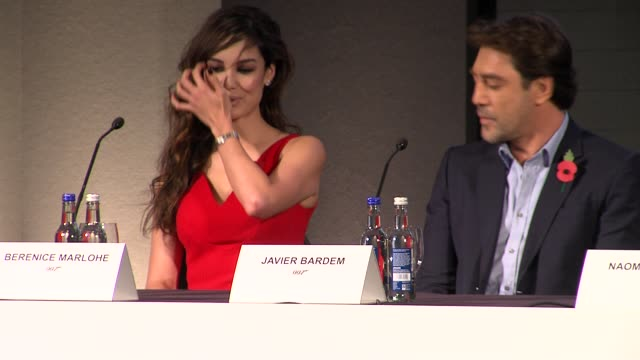 berenice marlohe on getting the role at the bond 23 launch press conference skyfall at london england - skyfall stock videos and b-roll footage
