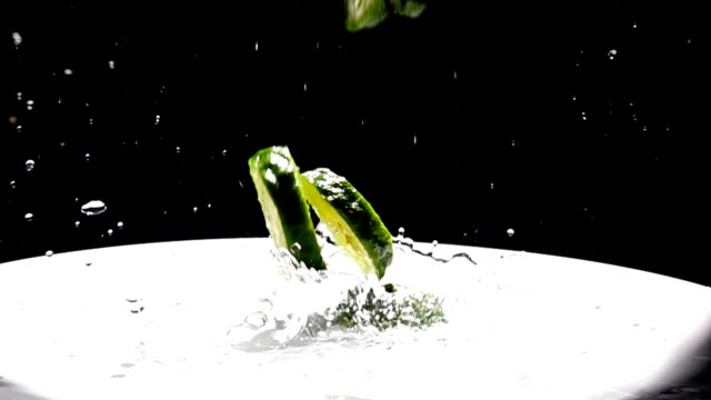 bergamot and water splash, Slow Motion