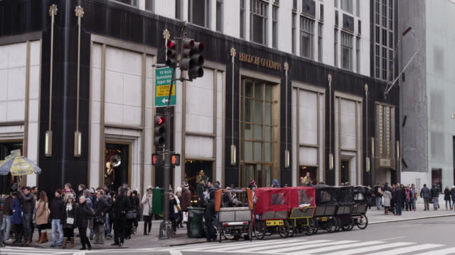 bergdorf goodman, nyc with holiday shoppers - bergdorf goodman stock videos and b-roll footage