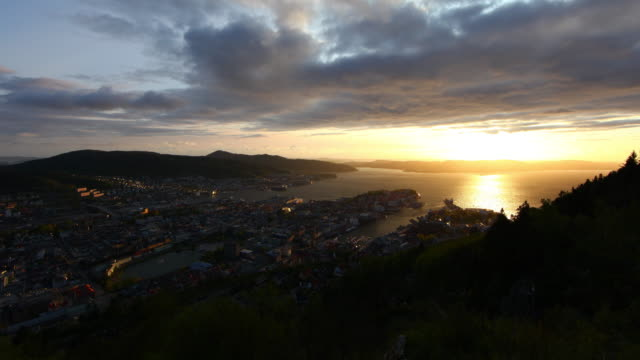 bergen from floien amazing sunset $k - cruising stock videos & royalty-free footage