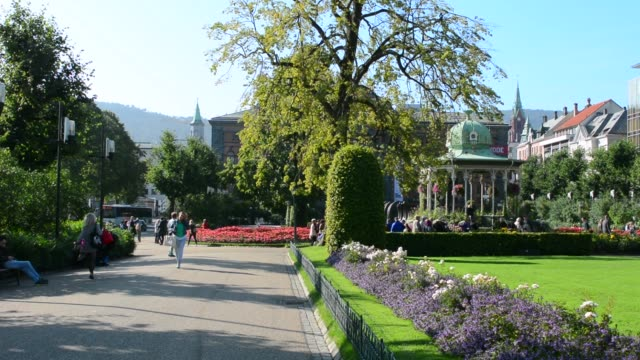 bergen norway music pavillion colorful gazebo with flowers in downtown - gazebo stock videos and b-roll footage
