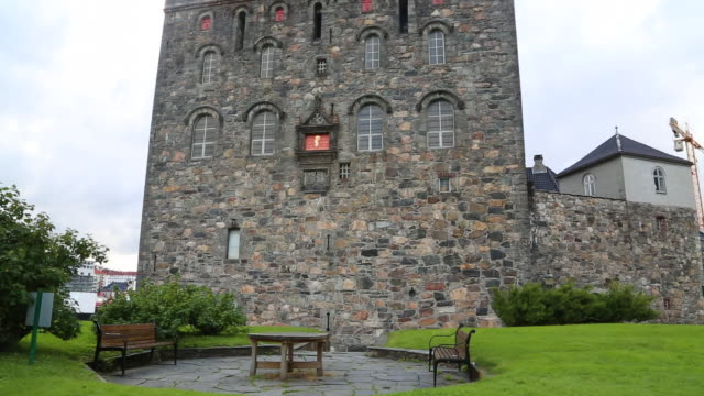 bergen, rosenkranz tower in bergenhus castle, 15th century  - fortress stock videos & royalty-free footage
