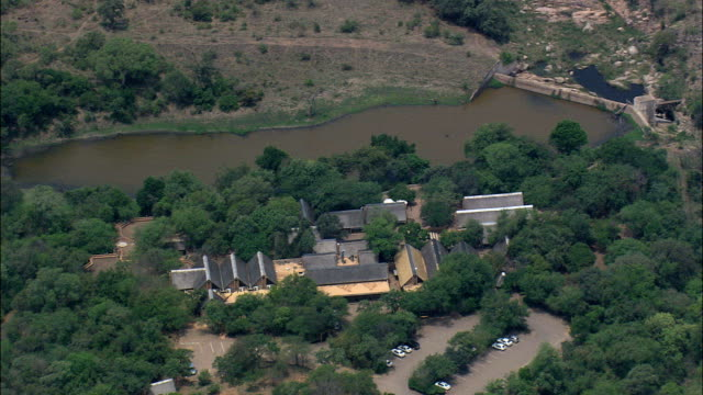 berg-en-dal rest camp  - aerial view - mpumalanga,  south africa - mpumalanga province stock videos and b-roll footage