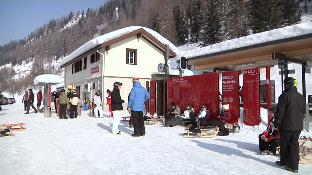 Bergün railway station in the winter