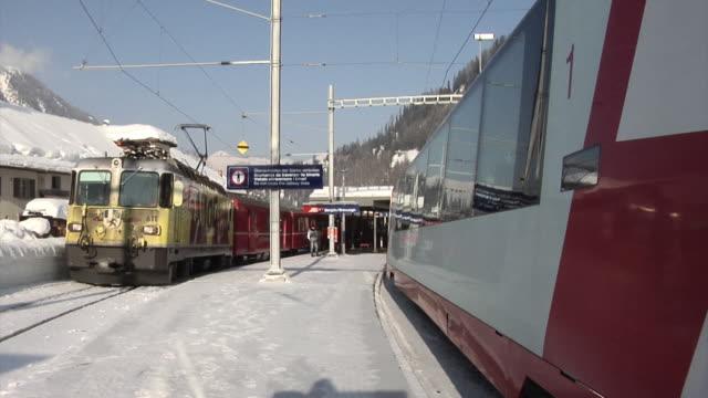 bergün/bravuogn railway station (rhaetian railway) - 50 seconds or greater stock videos & royalty-free footage