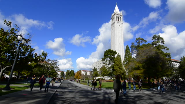 Berkeley California University of California at Berkeley, students with Sather Tower or Campanile tower in background with clouds and color