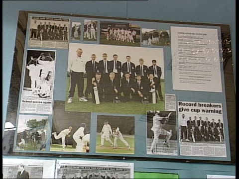 Berkshire Eton College INT CMS Boards listing members of Eton College cricket teams PAN Lancashire Bolton EXT Pupils running along Little Lever High...