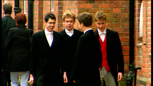 eton prince william and other eton pupils along in school uniform - eton berkshire stock videos and b-roll footage