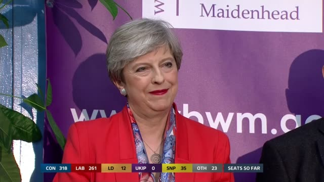 Berkshire Maidenhead INT Various of Prime Minister Theresa May MP and her husband Philip along at her election count and standing behind rival...