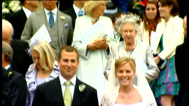 Windsor EXT Royal Family members gathered on steps for photographs after the wedding of Peter Phillips and Autumn Kelly London St James's Palace Kate...