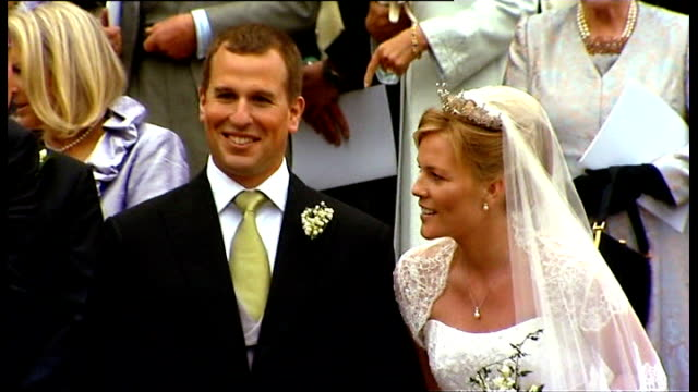 Windsor Peter Phillips standing with new bride Autumn Kelly