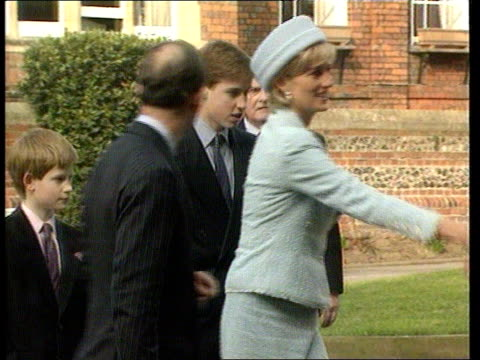 windsor st george's chapel **cathy jacobs voiceover overlaid** princess diana prince charles prince of wales and sons prince harry and prince william... - dermot murnaghan stock-videos und b-roll-filmmaterial