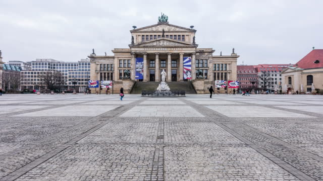 Berlin 2017 - 4K Timelapse : The neo-classical theatre building is used as a concert hall, and is home of the Berlin Symphony Orchestra. It is located in the Gendarmenmarkt near Unter den Linden.