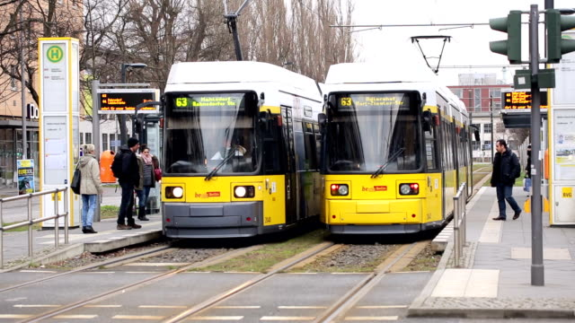 berlin adlershof tramway - tram stock videos & royalty-free footage