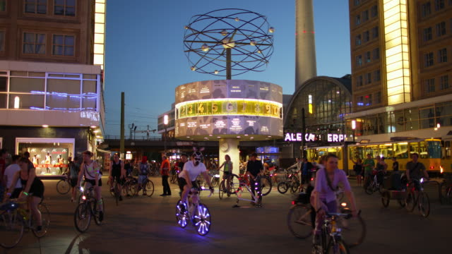 berlin alexanderplatz nightlife with cyclists - nightlife stock videos & royalty-free footage