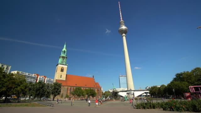 berlin alexanderplatz with tv tower, time lapse - alexanderplatz stock videos & royalty-free footage