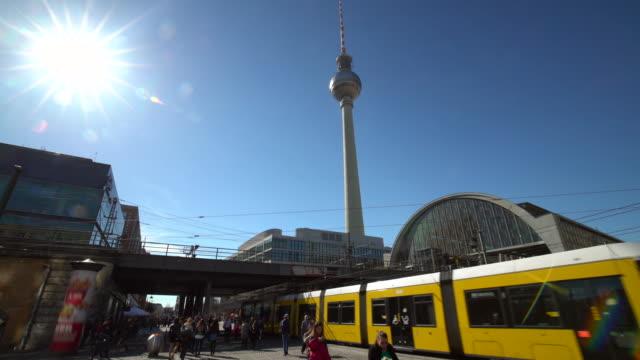 berlin alexanderplatz with tv tower - alexanderplatz stock videos & royalty-free footage