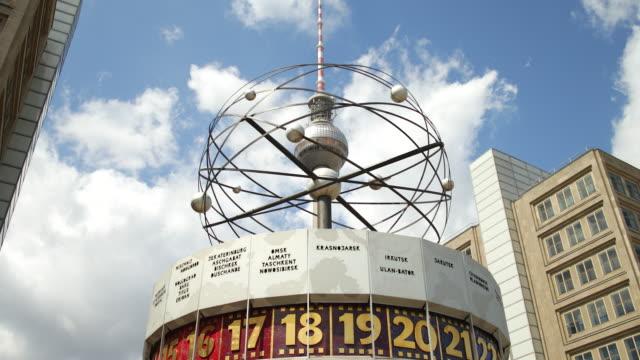 berlin alexanderplatz with weltzeituhr and fernsehturm - alexanderplatz stock videos & royalty-free footage