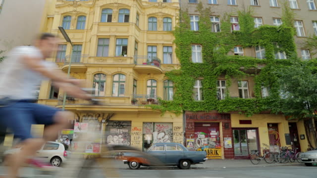 berlin apartment building and parked cars - travel poster stock videos & royalty-free footage