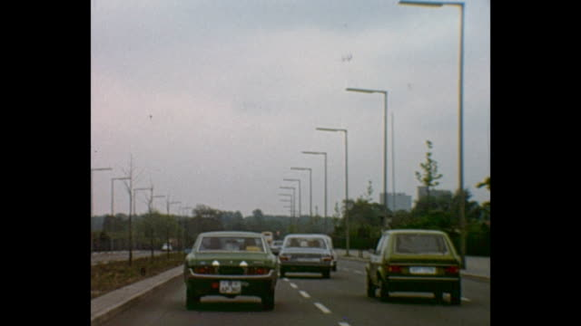 Berlin beltway different shots of typical German autobahn / highways driving to the border passing to the GDR / 1012026