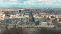 BERLIN, GERMANY - MARCH 28, 2019. Berlin Brandenburg Gate aerial view with city traffic