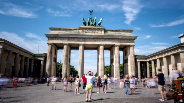 berlin brandenburg gate hyperlapse - gate stock videos & royalty-free footage