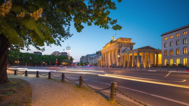 Berlin Brandenburg Gate Modern Dynamic Summer Day to Night Timelapse with Traffic