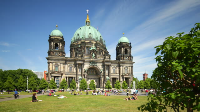 Berlin Cathedral in Summer with relaxing People
