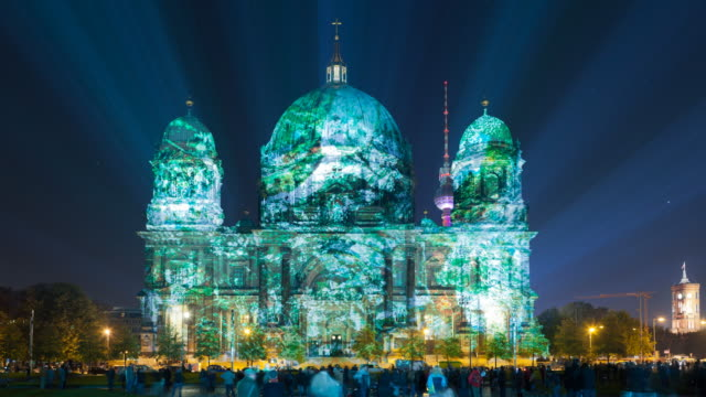 berlin cathedral light art zoom timelapse at the festival of lifdghts - nightlife stock videos & royalty-free footage